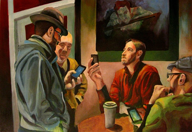 a painting about having a cellular phone chat in a coffee house
