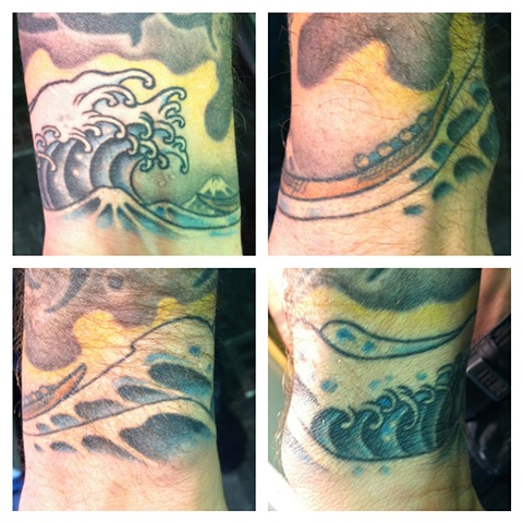hokusai great wave wrist tattoo by j majury