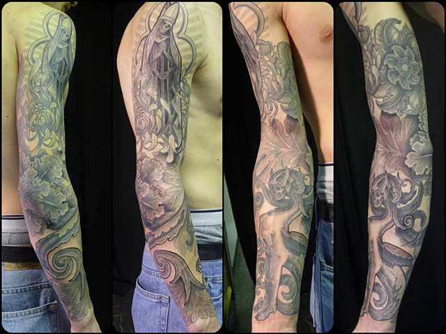 baroque sleeve black and grey tattoo by j majury