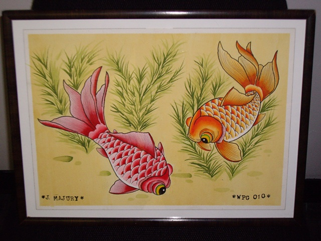 goldfish tattoo flash set j. majury