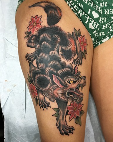 Big Wolf Tattoo thigh tattoo leg traditional flash design custom winnipeg first string janman