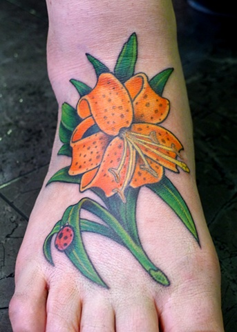 tiger lily color foot tattoo by j majury