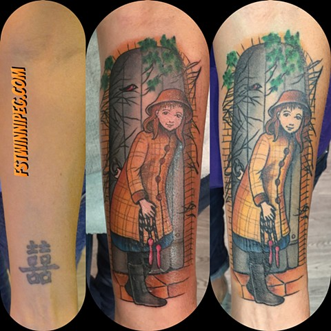 Story book scene coverup j Majury first string tattoo artist Winnipeg