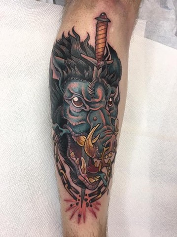 Boar and Dagger Tattoo by janman tattoos neo-traditional work