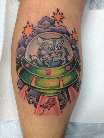 UFO Cat Tattoo alien colour traditional flash design custom janman winnipeg first string mouse beam me up space