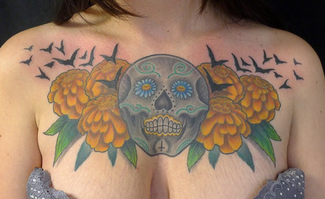 Sugar Skull with Marigolds and Bats