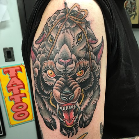 Wolf Lamb Tattoo sheeps clothing rope custom tattoo design flash traditional janman winnipeg first string colour black and grey