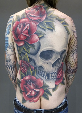 j. majury skull rose back tattoo first string tattoo winnipeg