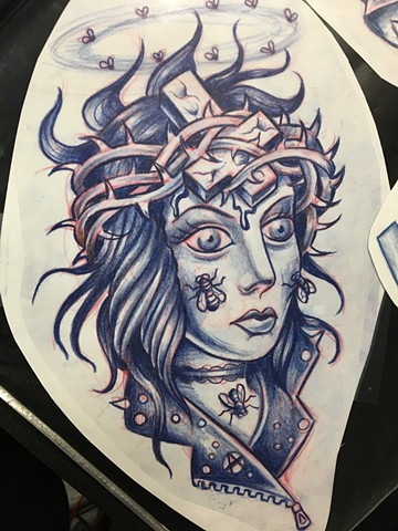 Girl Head Flash Design