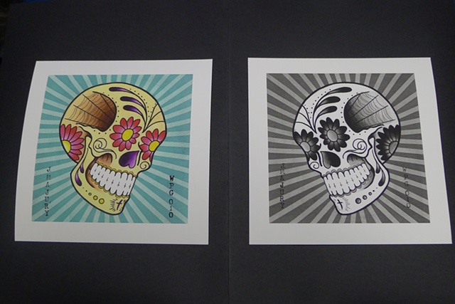 Sugar Skull Paintings Giclee Prints painting by J. Majury