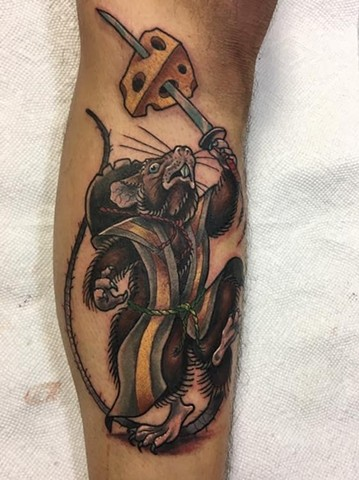 Ninja Rat Tattoo cheese sword mouse janman traditional custom flash design winnipeg first string colour leg splinter