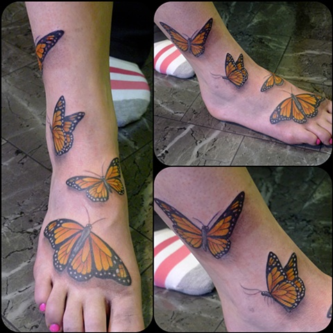 monarch butterfly tattoo colour foot by j majury