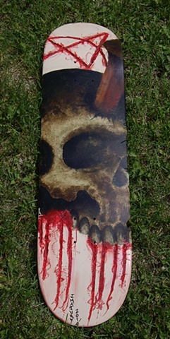 highway to hell skateboard painting by j. majury