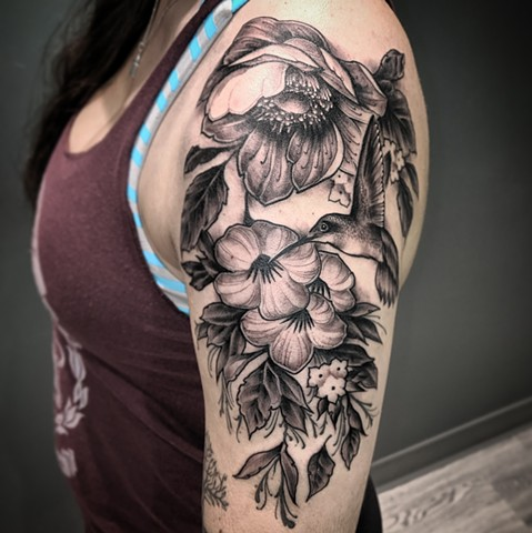Floral and Hummingbird
