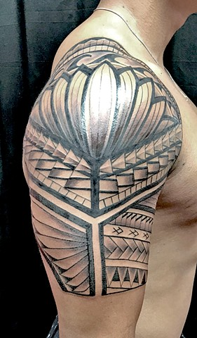 Polynesian tribal half sleeve