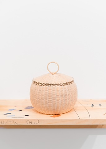 Jeremy Frey, Fine Weave Basket with Lid and Ring