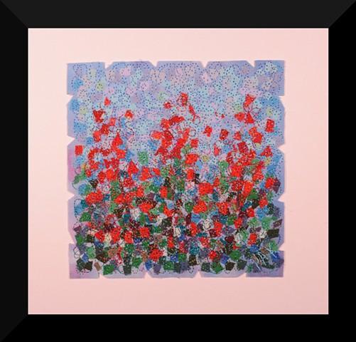 58  Red Blue Garden     Fiber: Matted and Framed Art Quilt