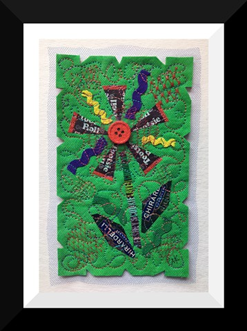 37   Green Tootsie Candy Wrapper  Flower Fiber: Framed Contemporary Art Quilt