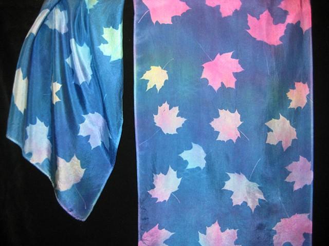 Hand-dyed,Sun-printed silk