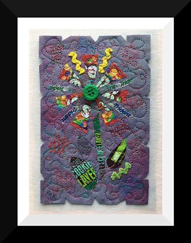 39   Purple Skittle Candy Wrapper  Flower Fiber: Framed Contemporary Art Quilt