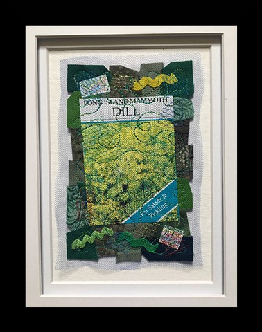 34  Seed Packet: Dill Fiber: Framed Contemporary Art Quilt