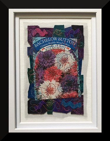 Contemporary Art Quilt, Fiber, Framed,  Fabric, garden seed packet