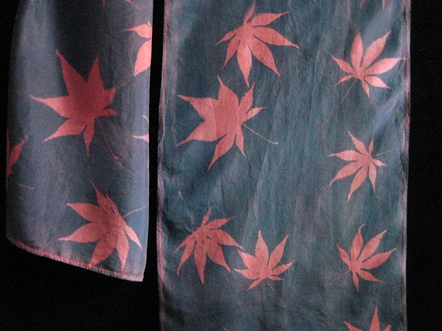 24  Silk Scarf, Hand-dyed,Sun-printed  Red Japanese Maple