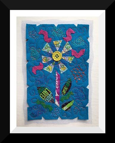 38   Blue Dum Dum Candy Wrapper  Flower Fiber: Framed Contemporary Art Quilt