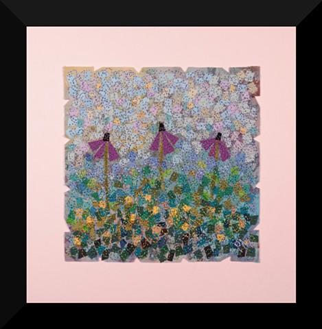 56  Purple Coneflower Tan Garden     Fiber: Matted and Framed Art Quilt