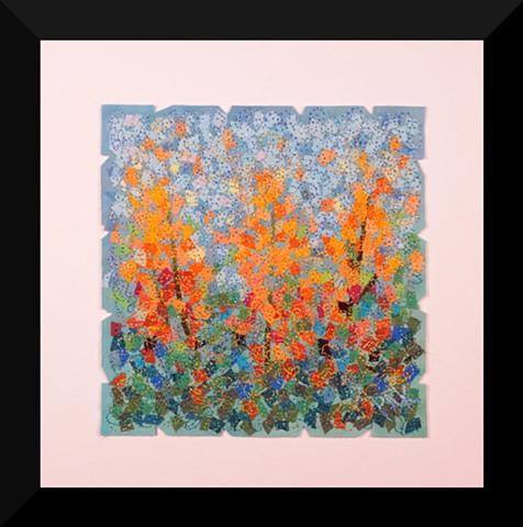 54  Orange Garden     Fiber: Matted and Framed Art Quilt