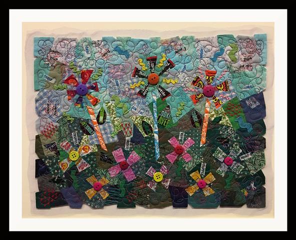61  Candy Wrapper Garden  Fiber: Matted and framed Contemporary Art Quilt