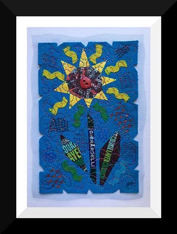 43   Blue Yellow Candy Wrapper SunFlower Fiber: Framed Contemporary Art Quilt