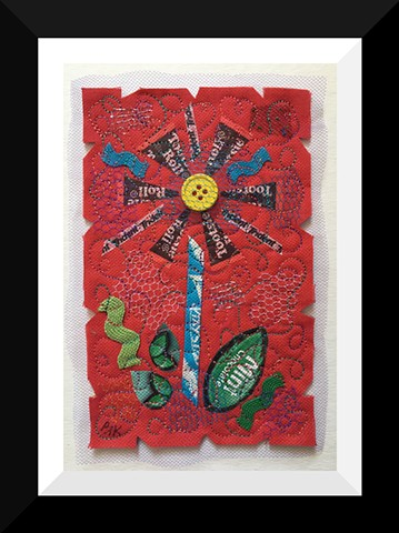 44  Red Tootsie Candy Wrapper Flower Fiber: Framed Contemporary Art Quilt
