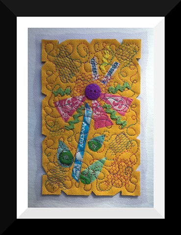 36   Yellow Candy Wrapper  Flower Fiber: Framed Contemporary Art Quilt