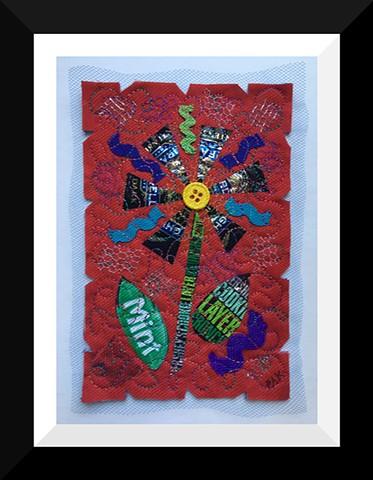 41   Red Choco Candy Wrapper  Flower Fiber: Framed Contemporary Art Quilt