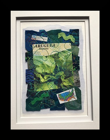28  Seed Packet: Arugula Fiber: Framed Contemporary Art Quil