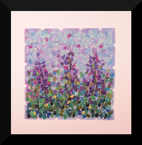 51  Purple Garden     Fiber: Matted and Framed Art Quilt