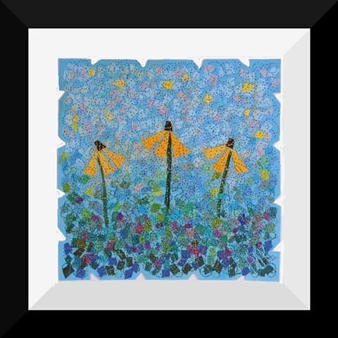 49A  Yellow Coneflower Garden  Matted and Framed Art Quilt