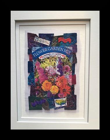 30  Seed Packet: Flower Garden Mix Fiber: Framed Contemporary Art Quilt