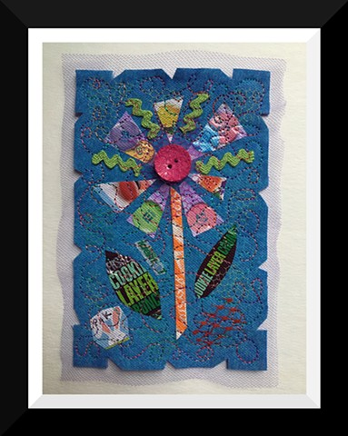 35   Easter Candy Wrapper  Flower Fiber: Framed Contemporary Art Quilt