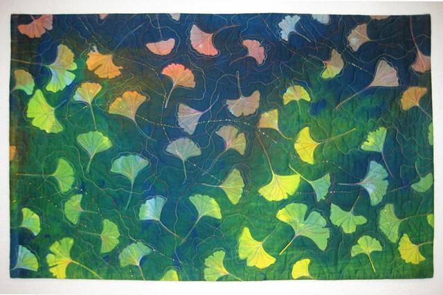 14  Ginkgo Autumn II, Art Quilt Hand-dyed, sun-printed