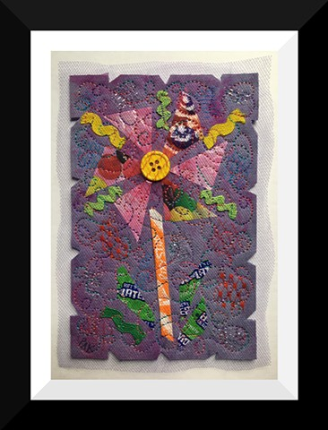 46   Purple Jelly bean Candy Wrapper  Flower Fiber: Framed Contemporary Art Quilt