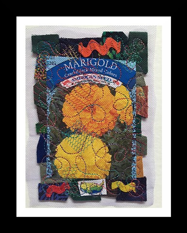 27    Flower Seed Packet: Marigolds Fiber: Framed Contemporary Art Quilt