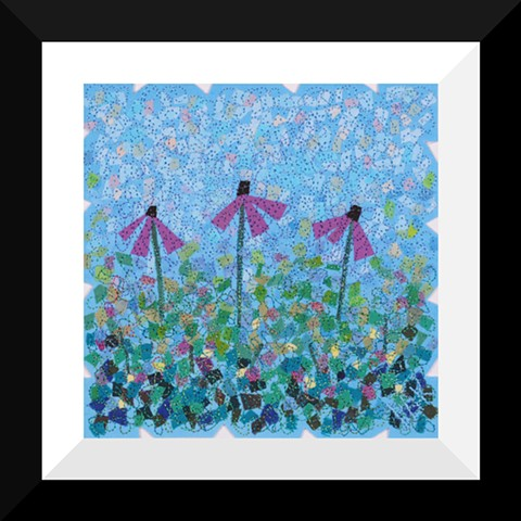 59A  Purple Coneflower Garden  Fiber: Matted and Framed Art Quilt