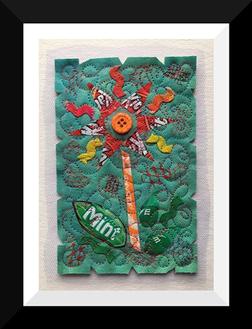40  Green Kit Candy Wrapper  Flower Fiber: Framed Contemporary Art Quilt