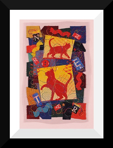 26  Cats collage Fiber: Framed Contemporary Art Quilt