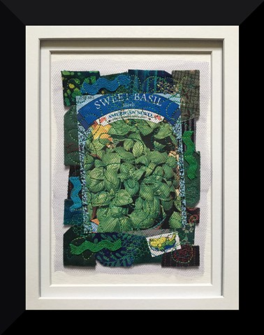 Contemporary Art Quilt, Fiber, Framed, Hand-dyed Fabric, seed packet