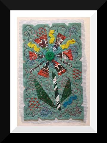 45   Green Mounds Candy Wrapper  Flower Fiber: Framed Contemporary Art Quilt