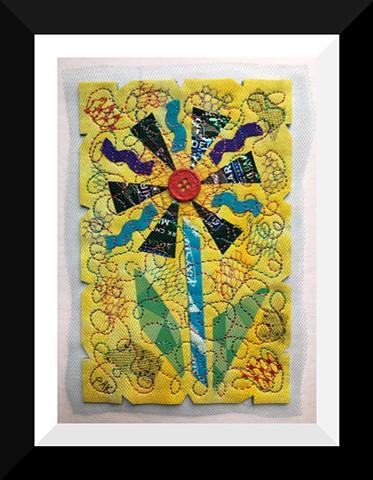 47   Yellow Choco Candy Wrapper  Flower Fiber: Framed Contemporary Art Quilt