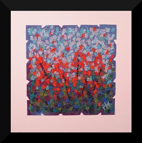 50  Red Garden     Fiber: Matted and Framed Art Quilt